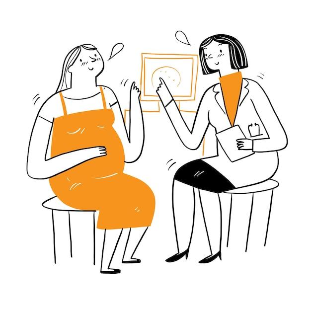 Lindos médicos dão conselhos aos pacientes sobre doenças ou gravidez. desenho à mão estilo de doodle de ilustração vetorial