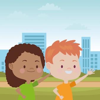 Lindos meninos felizes se divertindo desenhos animados