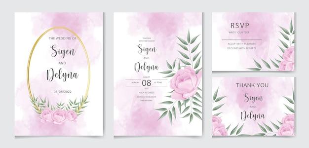Lindos modelos de cartões de convite de casamento em aquarela