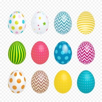 Lindos ovos pintados para a páscoa em fundo transparente. ilustração