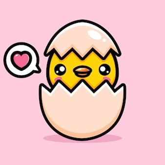 Lindos pintinhos recém nascidos de cascas de ovos
