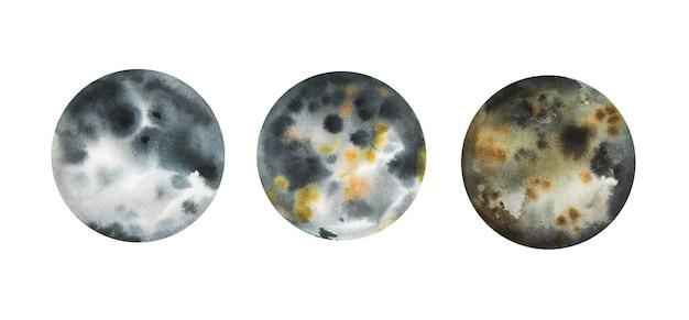 Lindos planetas rochosos desenhados à mão em aquarela