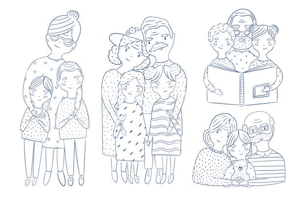 Lindos retratos de corpo inteiro e da cintura para cima de avós com neta e neto desenhados à mão com contornos. avô e avô amorosos com netos. personagens de desenhos animados.