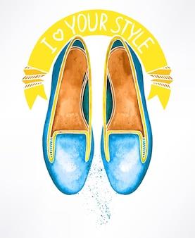 Lindos sapatos azuis em aquarela. ilustração desenhada à mão