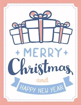 Line art caixas de presente de natal com arco Vetor Premium