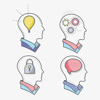 Line silhueta conceito cabeça saúde mental