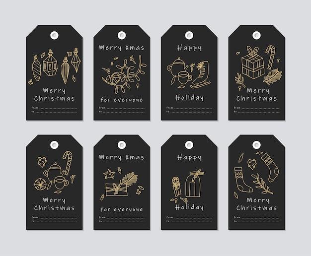 Linear design elementos de saudações de natal em fundo branco. etiquetas de natal com tipografia e ícone colorido.