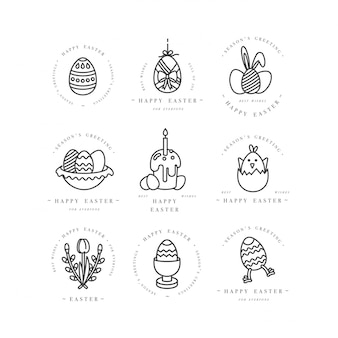 Linear design elementos de saudações de páscoa em fundo branco. ícone de tipografia ang para cartões de feliz páscoa, banners ou cartazes e outros para impressão. elementos de design de férias de primavera.