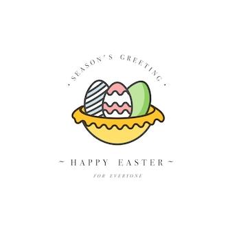 Linear design elementos de saudações de páscoa. tipografia e ícone para feliz feriado de páscoa