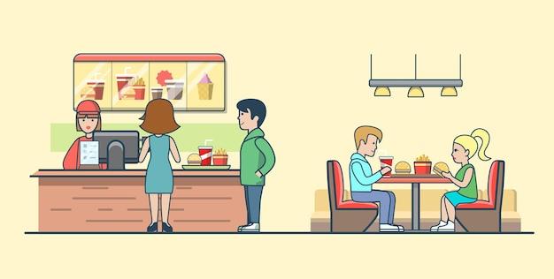 Linear flat casal comendo hambúrgueres e batatas fritas, clientes pedindo comida no bar. garçom, homem, mulher, cliente