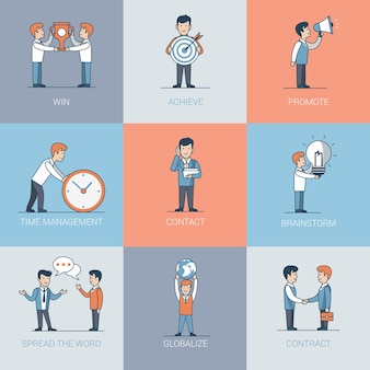 Linear flat executivos e situações de objetos. conceito de promoção de marketing empresarial. ganhe, conquiste, promova, gerenciamento de tempo, contato, aperto de mão, brainstorming, espalhe a palavra.