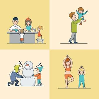 Linear flat family cozinhando, se divertindo, fazendo boneco de neve e conjunto de exercícios ginásticos. conceito de parentalidade de vida casual.