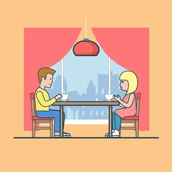 Linear flat homem e mulher à mesa na sala de jantar, bebendo chá. vida familiar feliz, conceito de encontro romântico.