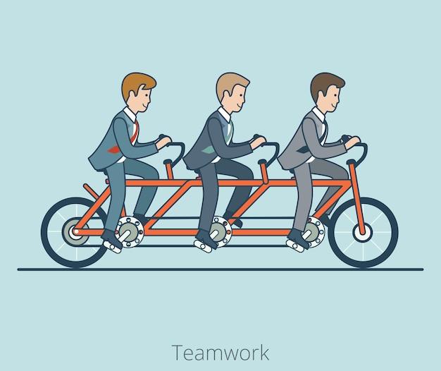 Linear flat três empresários andando de bicicleta tandem tripla. conceito de trabalho em equipe de empresa corporativa de negócios.