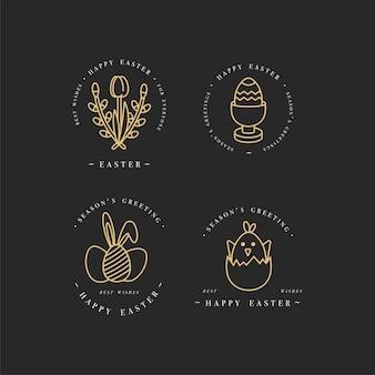 Linear golden design elementos de saudações de páscoa. conjunto de ícone de ang de tipografia para feliz feriado de páscoa