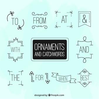 Linear ornamentos e catchwords pacote