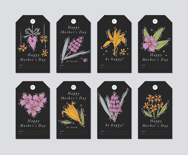 Linear para elementos de saudações de dia das mães em fundo de sofia. tags de férias de primavera conjunto com tipografia e ícone colorido.