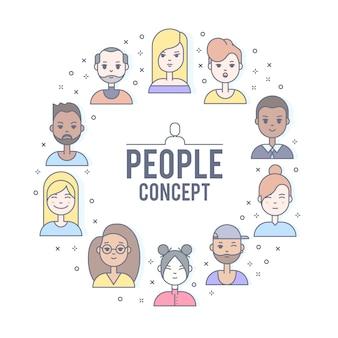 Linear pessoas planas enfrenta ilustração. avatar de mídia social, userpic e perfis.