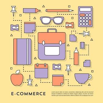 Linear plano styled elementos de negócios