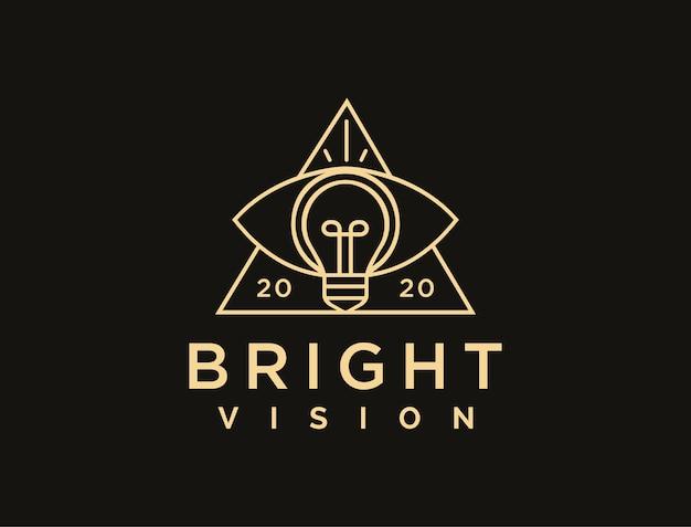 Lineart abstrato vision logo, modelo de logotipo de olho e lâmpada