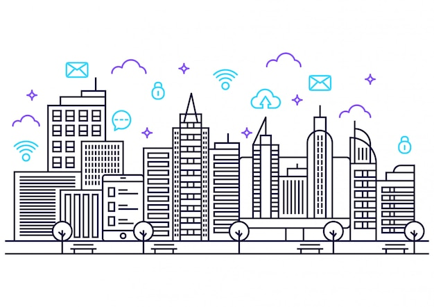 Lineart cidade inteligente