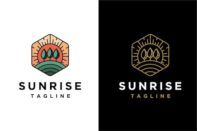 Lineart nascer do sol paisagem logotipo modelo