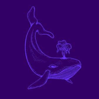 Lineart neon brilho da baleia