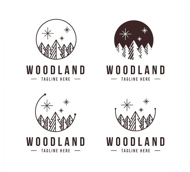 Lineart pinheiro floresta logotipo conjunto modelo