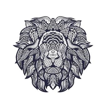 Lineart preto e branco da cabeça do leão