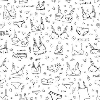 Lingerie doodle padrão sem emenda.