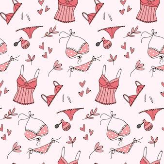 Lingerie doodle padrão sem emenda