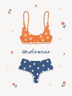 Lingerie feminina moderna ou roupa de banho. na moda mão desenhada roupa interior ou biquínis e partes de baixo.