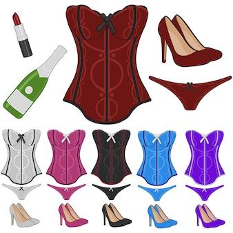 Lingerie traje erótico doodle ícones esboço de ilustração feito à mão.