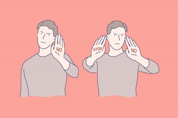 Língua gestual, pare e sem gestos, o conceito de emoções negativas