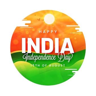 Língua hindi caligrafia feliz dia da independência com vista natural do sol.
