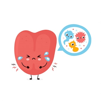 Língua humana fofa com bactérias