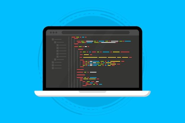 Linguagem de programação e código do programa na tela do laptop codificação de programação php html c css