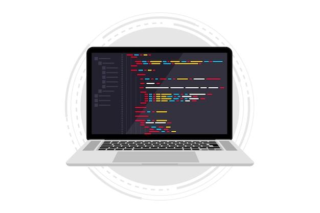 Linguagem de programação e código do programa na tela do laptop codificação de programação php html