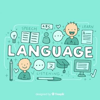 Línguas conceito fundo na mão desenhada estilo