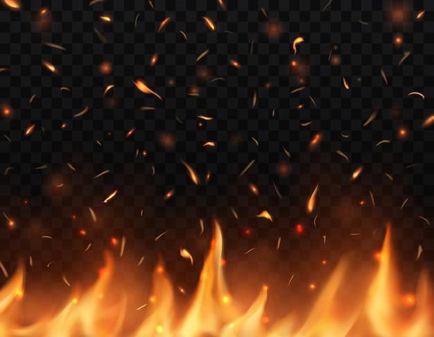 Línguas de fogo realistas com faíscas