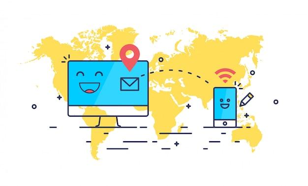 Linha abstrata arte correio enviando composição. computador e smartphone recebendo mensagem.