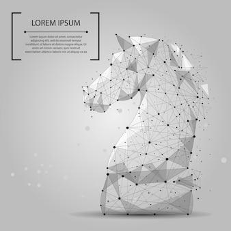 Linha abstrata da erva-benta e cavalo da xadrez do ponto.