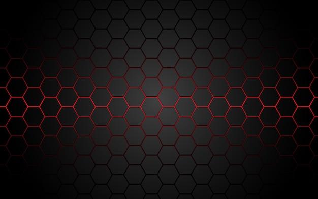 Linha abstrata do hexágono da luz vermelha no luxo moderno cinzento futurista.