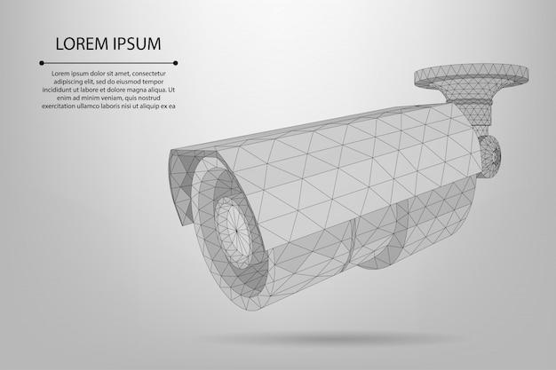 Linha abstrata e ponto de câmera de rua modelo de câmera de baixo poli