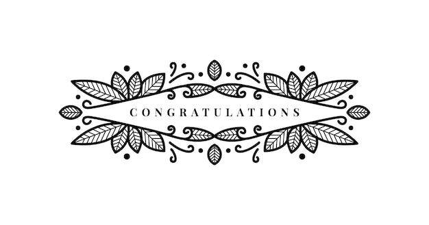 Linha abstrata elegante quadro floral como elemento para parabéns. combinação de folha e círculo de pontos