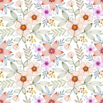 Linha abstrata flores sem costura padrão