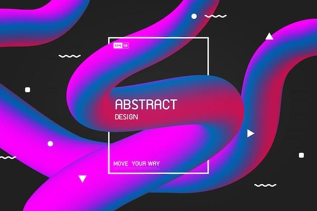 Linha abstrata listra colorida de fundo de efeito de design de forma livre