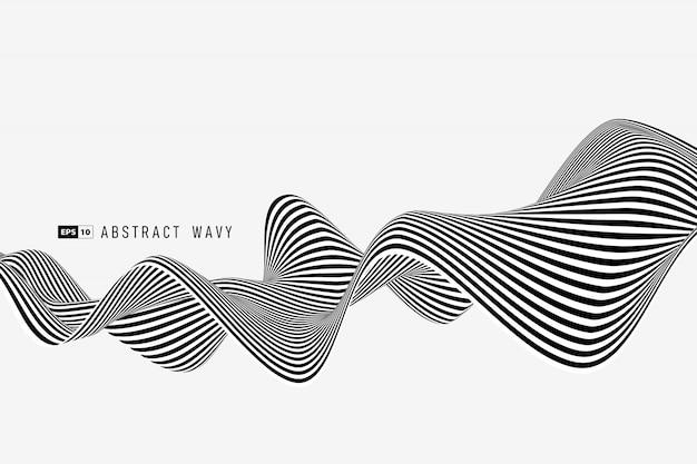 Linha abstrata listra mínima preto e branco de fundo de decoração de malha.