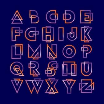 Linha alfabeto linha fonte logotipo moderno gradiente colorido conjunto