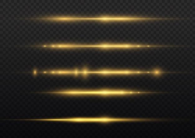 Linha amarela brilhante em fundo transparente, feixes de laser, reflexo dourado brilhante